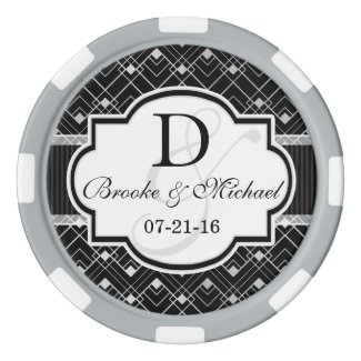 Silver Art Deco Poker Chips