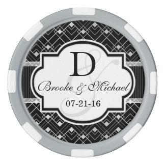 Vintage Black & Silver Art Deco Wedding Poker Chips