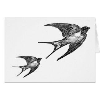 Vintage Black Swallow Design Card