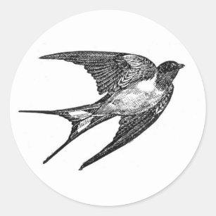 Vintage Black Swallow Design Classic Round Sticker