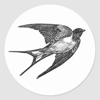 Vintage Black Swallow Design Round Sticker