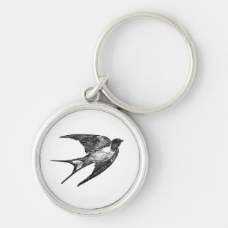 Vintage Black Swallow Design Silver-Colored Round Key Ring