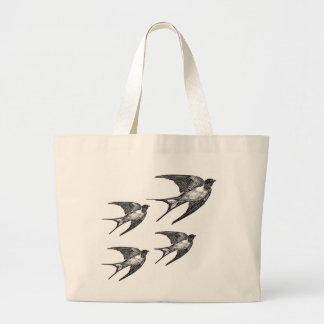 Vintage Black Swallow Design Jumbo Tote Bag
