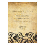 Vintage Black Swirl Damask Wedding Reception Card Personalized Announcements