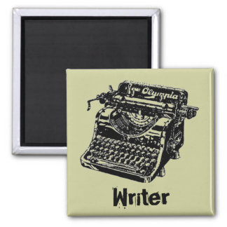Vintage Black Typewriter Square Magnet
