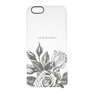 Vintage Black Victorian Tea Roses Clear Clear iPhone 6/6S Case
