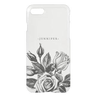 Vintage Black Victorian Tea Roses Clear iPhone 8/7 Case