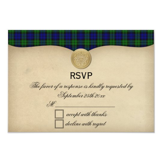 Vintage Black Watch Tartan Plaid Wedding RSVP Card