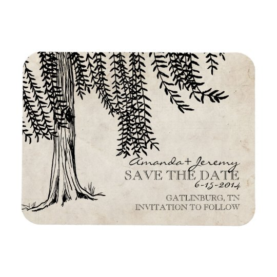 Vintage Black Weeping Willow Save The Date Rectangular Photo Magnet