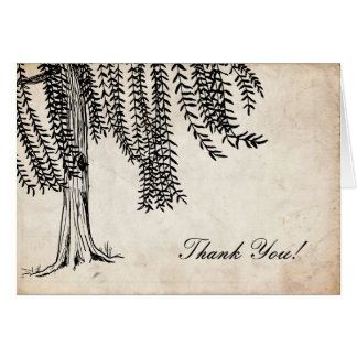 Vintage Black Weeping Willow Tree Thank You Greeting Cards