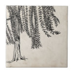 Vintage Black Weeping Willow Tree Small Square Tile