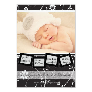 Vintage Black & White - 3x5 Birth Announcement