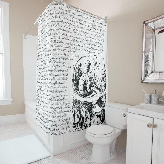 Vintage Black White Alice In Wonderland Shower Curtain