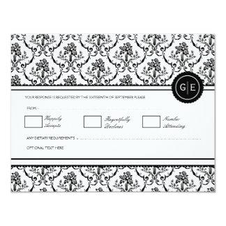 Vintage Black & White Baroque Wedding RSVP 11 Cm X 14 Cm Invitation Card