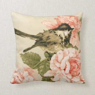 Vintage black white bird blush pink roses flowers cushion