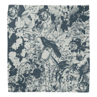 Vintage Black & White Bird Floral and Script Print Bandana