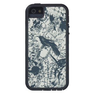 Vintage Black & White Bird Floral and Script Print Case For The iPhone 5
