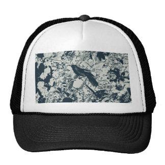 Vintage Black & White Bird Floral and Script Print Mesh Hat