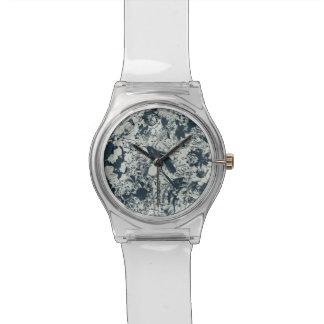 Vintage Black & White Bird Floral and Script Print Wristwatches