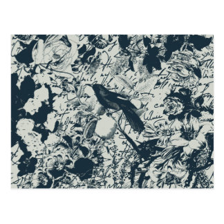 Vintage Black & White Bird Floral and Script Print Postcard