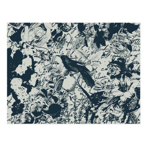 Vintage Black & White Bird Floral and Script Print Postcard