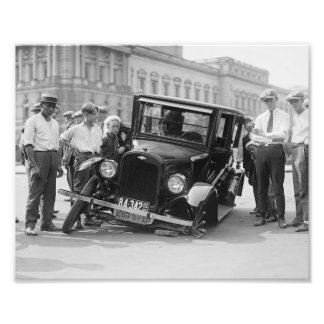 Vintage Black & White Broken Car Wreck USA 1923 Photo Print