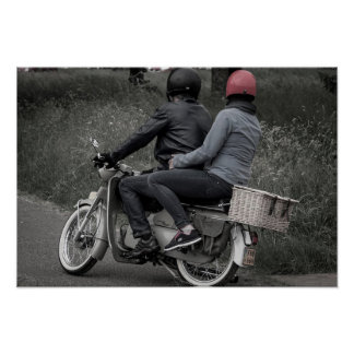 Vintage Black & White Couple on Motorcycle Poster
