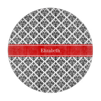 Vintage Black White Damask #3 Red Name Monogram Cutting Board