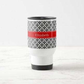 Vintage Black White Damask 3 Red Name Monogram Coffee Mug