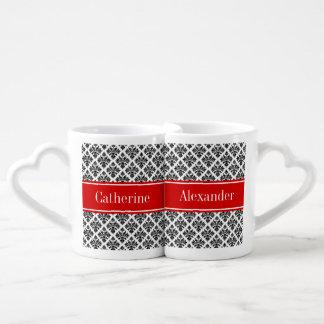 Vintage Black White Damask 3 Red Name Monogram Couple Mugs