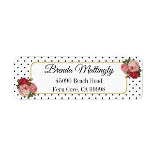 Vintage Black White Dots Floral Return Address