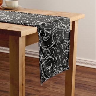 Vintage black white elegant floral mandala short table runner