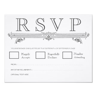 Vintage Black & White Elegant Wedding RSVP Cards 11 Cm X 14 Cm Invitation Card