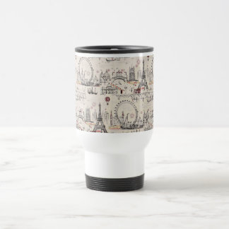 Vintage Black & White Europe Images Stainless Steel Travel Mug