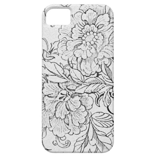 Vintage Black & White Floral Barely There iPhone 5 Case
