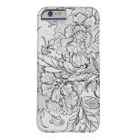 Vintage Black & White Floral Barely There iPhone 6 Case