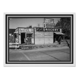 Vintage Black & White Grocery Store Poster 12 x 16