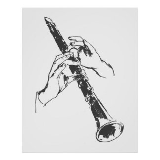 Vintage Black White Hands Clarinet Benny Goodman Poster