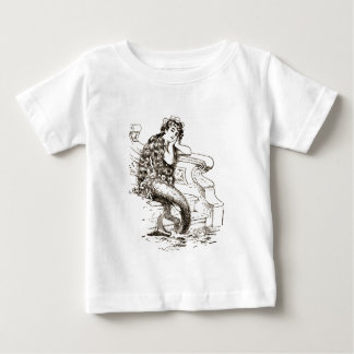 Vintage Black White Mermaid Drawing Baby T-Shirt