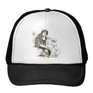 Vintage Black White Mermaid Drawing Cap