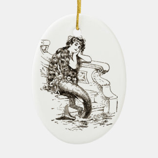 Vintage Black White Mermaid Drawing Ceramic Oval Decoration