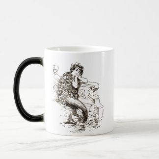 Vintage Black White Mermaid Drawing Magic Mug