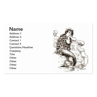 Vintage Black White Mermaid Drawing Pack Of Standard Business Cards