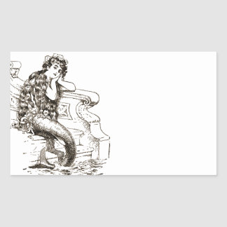 Vintage Black White Mermaid Drawing Rectangular Sticker