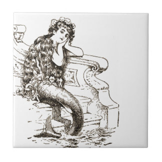 Vintage Black White Mermaid Drawing Small Square Tile