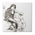 Vintage Black White Mermaid Drawing Tile