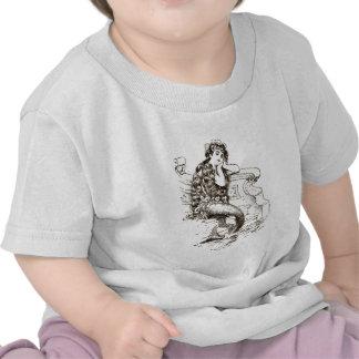 Vintage Black White Mermaid Drawing Shirts