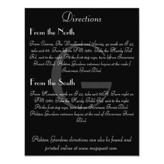 Vintage Black & White Monogram Direction Card 11 Cm X 14 Cm Invitation Card