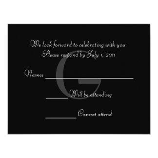 Vintage Black & White Monogram Respond Card 11 Cm X 14 Cm Invitation Card
