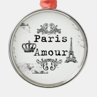 Vintage Black White Paris Amour Eiffel Tower Christmas Ornament